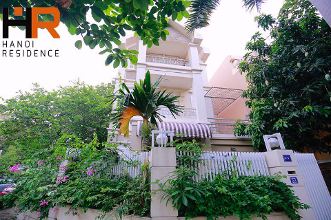 Partly furnished villa 04 beds for rent in block T Ciputra, with nice court yard