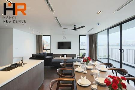 Luxurious & serviced apartment for rent in Tay Ho, 4 bedroom & balcony